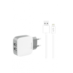 KIT TRAVEL CHARGER 2usb 2.1A Con Cavo Dati Per Apple Lightning 2M - Colore Bianco