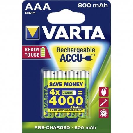 BATTERIE RICARICABILI AAA VARTA - 800 mAh - 4PZ