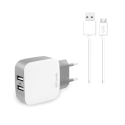 CARICABATTERIE  micro usb 2.1A 10W FAST CHARGE  con 2 uscita